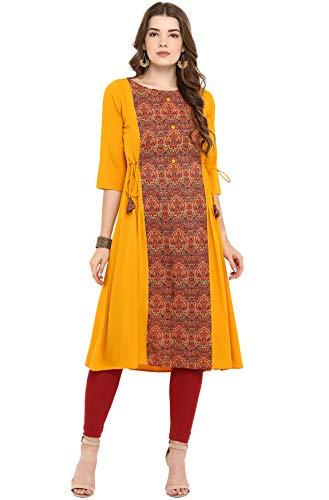Janasya Indian Tunic Tops Crepe Kurti for Women (JNE2291-KR-602-XXL) Yellow