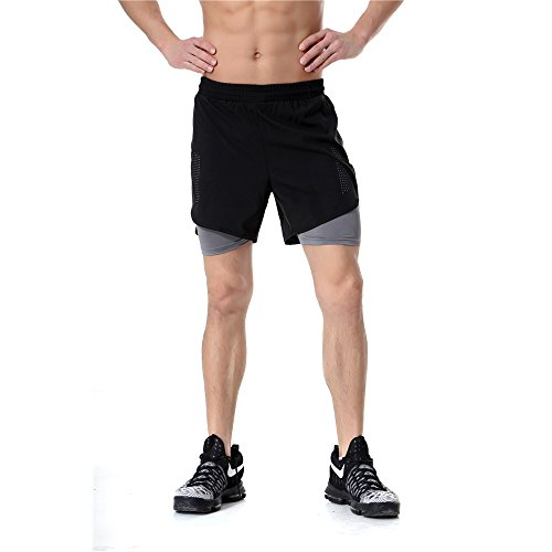Mens 2 in 1 Running Shorts Workout Gym Fitness 7 2-in-1 Training Shorts