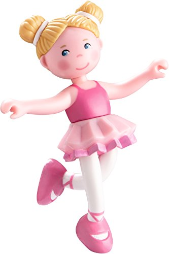 """HABA Little Friends Lena - 4"""" Bendy Ballerina Doll Figure with Blonde Pigtails"""