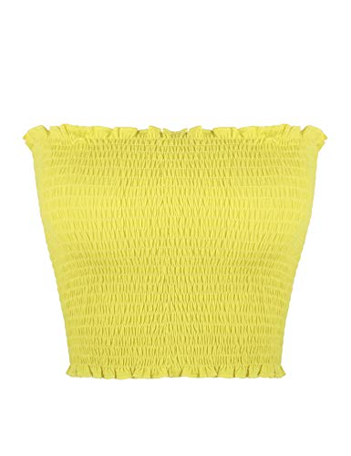 - Sweetbei J Womens Strapless Pleated Summer Sexy Bandeau Tube Crop Tops Yellow M
