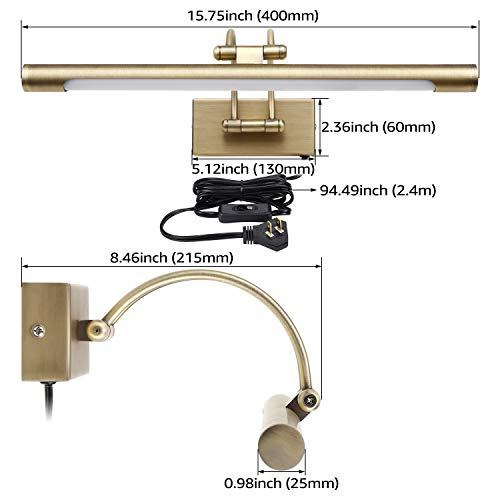 LEONLITE LED Picture Light, Full Metal Artwork Lamp with Swivel Lamp Head, 8W (40W Eqv.), Plug-n-Play & Hardwire, UL-Listed Power Cord, 3000K Warm White, CRI90+, Arc Arm, 560Lm, Antique Brass Finish by LEONLITE (Image #7)