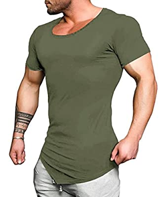 COOFANDY Men's Workout Tee Short Sleeve Gym Training Bodybuilding Muscle Fitness T Shirt (Medium, Olive Green)