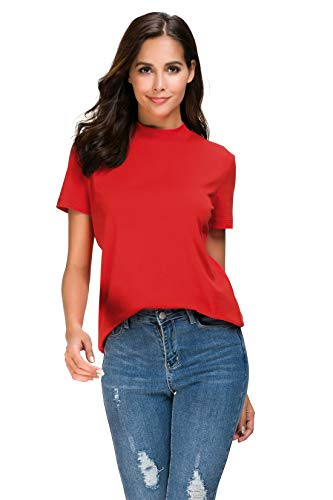 Women Short Sleeve High Mock Neck Stretchy Cotton Shirt Loose Fit Casual Solid T Shirt Tops ()