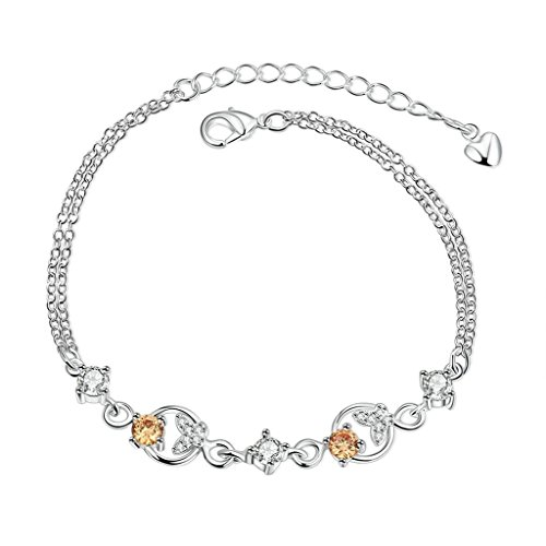 (AmDxD Jewerly Gold Plated Women Charm Bracelet Silver Butterfly Shaped CZ 18CM with 5CM Extension Chain)