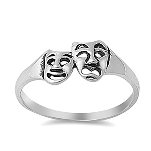 Tragedy Mask Drama Comedy Theatre Ring New .925 Sterling Silver Band Size 9]()