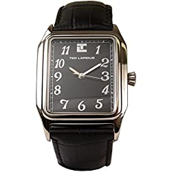 Ted Lapidus Men's Black Arabic Numerals Dial Tank Watch with Croc Band