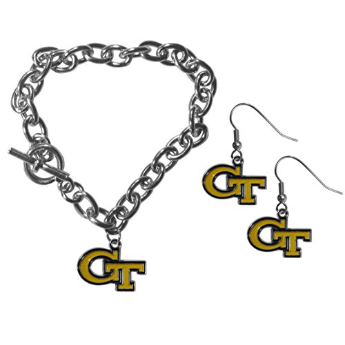 NCAA Georgia Tech Yellow Jackets Chain Bracelet And Dangle Earring Set Earrings Georgia Tech Yellow Jackets