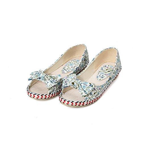 AllhqFashion Damen Weiches Material Ziehen auf Offener Zehe Ohne Absatz Flache Sandalen Blau