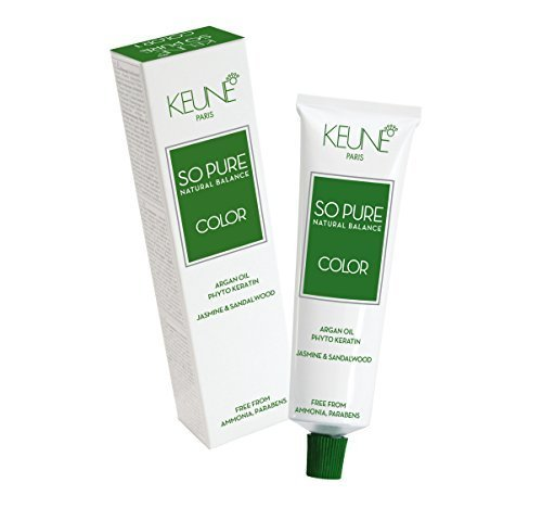 Keune So Pure Permanent Hair Color 100% Ammonia Free & Paraben Free Enriched with Argan Oil Hair Coulor 60ml / 2.1oz (#1 Black)