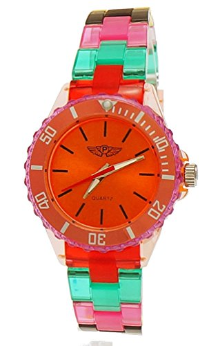 (Cool NY London Rainbow Plastic Watch Colorful Plastic Ladies Bracelet Watch Boys Girls Wrist Watch Orange Red Green Blue Yellow Including Watch)