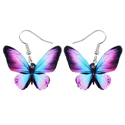 (Acrylic Drop Dangle Big Morpho Menelaus Butterfly Earrings Drop Shipping Fashio)