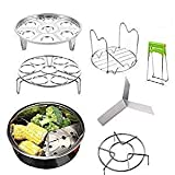 AOLVO Instant Pot Accessories Set of 7 Fits 5,6,8 qt Pressure Cooker Stainless Steel Vegetable Steamer Basket Kit Include Steamer Basket, Egg Steamer Rack Trivet, Pot Holder, Pot Dish Clip, ect