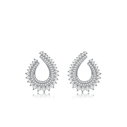 Mkxiaowei Platinum Zircon shaped earrings female accessories
