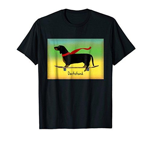 Dachshund Dog on Skateboard T-Shirt Wiener Dog Skateboarding