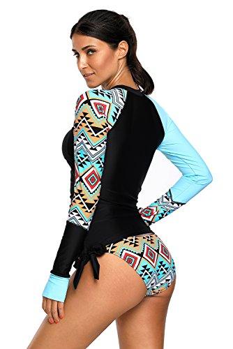 Rekita Womens Long Sleeve Rashguard Shirt Color Block