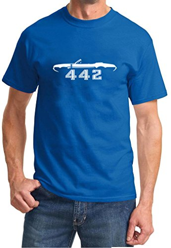 1968 1969 Oldsmobile 442 Cutlass Convertible Classic Outline Design Tshirt large royal