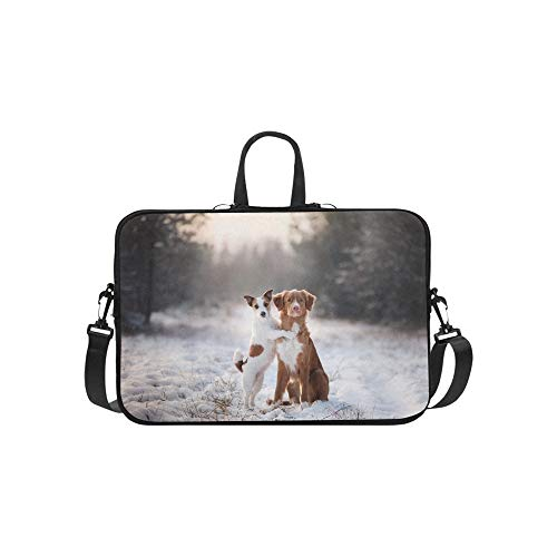 Two Dogs Nova Scotia Duck Tolling Stock Photo Pattern Briefcase Laptop Bag Messenger Shoulder Work Bag Crossbody Handbag for Business Travelling