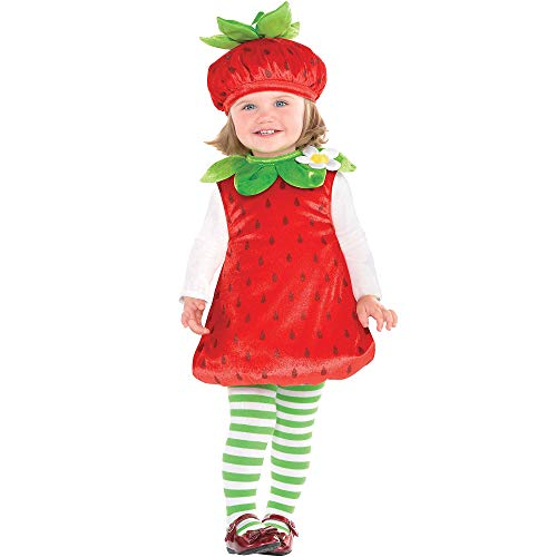 Suit Yourself Strawberry Costume for Babies, Size 12 Months to 24 Months, Includes a Romper, a Hat, and Striped Tights -