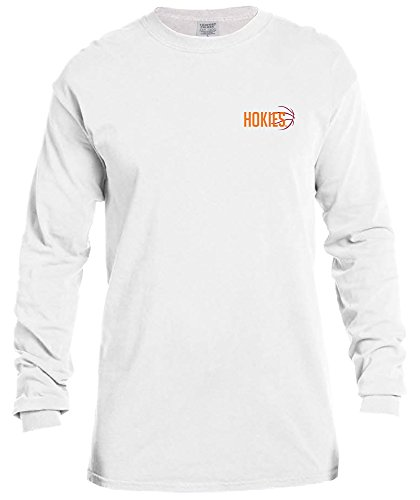 Shirts Basketball College - NCAA Virginia Tech Hokies Basketball Outline Long Sleeve Comfort Color Tee, Large,White