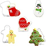 KACOOL Christmas Cookie Cutter, Stainless Steel Holiday Cookie Cutter Set with Recipe Christmas Tree, Gingerbread Man, Sock, Glove and Sweater Snowman for Biscuit, Fondant, Birthday Party (5 Pieces)