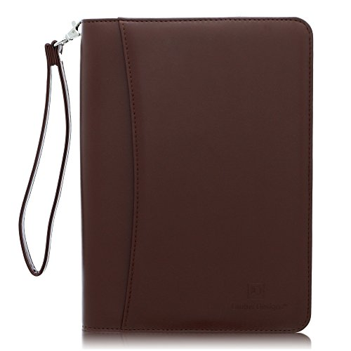 (Junior Zippered Business Padfolio with Notepad - Dark Brown PU Leather Portfolio Binder & Organizer Folder with 8 Inch Tablet Sleeve by Lautus Designs)