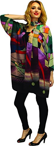 Kandinsky Inspired Hand Painted Art Wear Silk Jacket & Scarf OS Oversized (Hand Painted Silk Jackets)