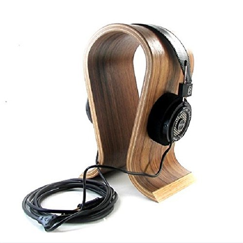 Agile-shop Wooden Omega Headphones Rack Headset Hanger Holder, Suitable for All Headphone Size(Walnut brown)