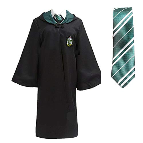 Halloween Magic Long Robe Unisex Cosplay Costume School Uniform and Tie (Green, 2XL)