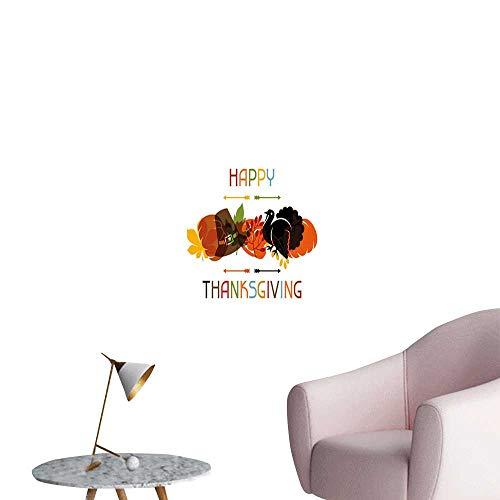 Jaydevn Turkey Stickers Wall Murals Decals Removable Bird Pumpkin Traveller`s Hat Silhouette with Celebratory Thanksgiving Illustration Office Studio Corridor Aisle Multicolor W24 x H36 -