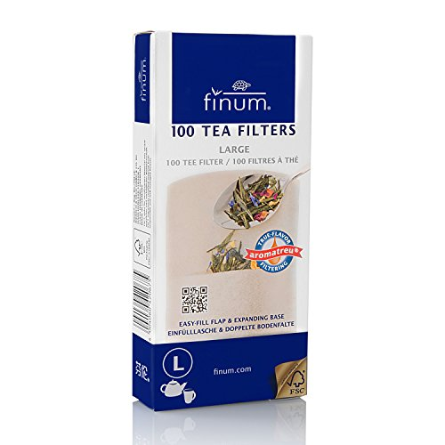Finum Disposable Paper Tea Filter Bags for Loose Tea, Brown,