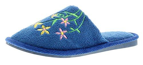 Nuevo Mujer Azul Real Zapatos Sin Talón Estilo Zapatillas - azul real - GB Tallas 3-8