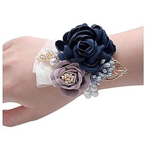 HappyERA Silk Rose Wrist Flower Bride Wrist Corsage Hand Wedding Flowers Party Decoration 48