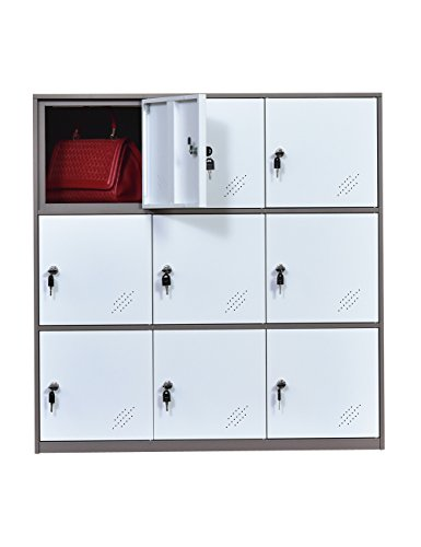 Office and School Locker Organizer Metal Storage Locker Cabinet for Workers Students and Home (White)