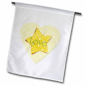 PS Christmas - Inspired Yellow Heart with Star and Love - Inspirational Art - Christmas - 12 x 18 inch Garden Flag (fl_60890_1)