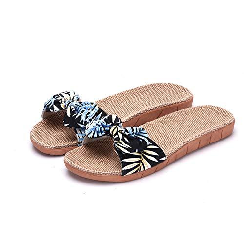 - xsby Linen Skidproof House Flip Flops Indoor Lightweight Hemp Slippers Slide Scuff Sandals Blue C 35-36