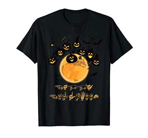 Asl Sign Happy Halloween (Happy Halloween ASL Sign Language Pumpkin Spider Bats)