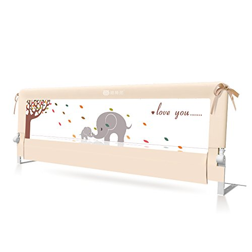 Baby BBZ Bed Rail  Mesh Bed Rail for Toddlers  Single Fold Safety Bedrail  Queen Size Bed Guard for Kids  Beige Color with Elephant Print  Easy to Use  for The Babys Safe Sleep
