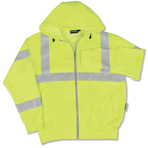 ERB 61529 S375 Class 3 Zip Up Safety Sweat Shirt, Lime, 3X-Large