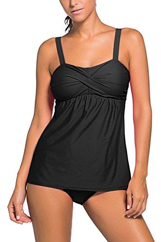 Da Le Estate Elegante Costume Nero Costumi Donna Donne Pezzi Piega Minetom A Bikini Tankini Decorazione Due Bagno Moda SzgwcY6qF