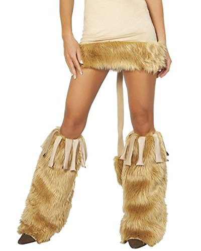 Fur Leg Warmers with Fringe Costume Accessory