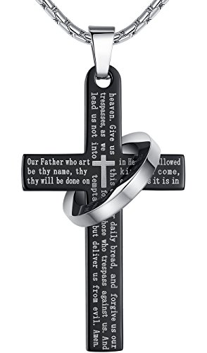 Aoiy Mens Stainless Steel Large Our Father Lords Prayer Cross Halo Pendant Necklace, 23 Chain