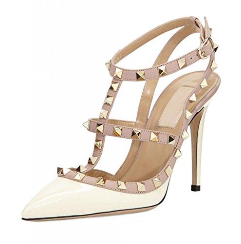 Littleboutique Metallic Strappy Sandal Pointed Toe High Heel Celerity Slingback Sandals Rivet Studded Stiletto Shoes white 5