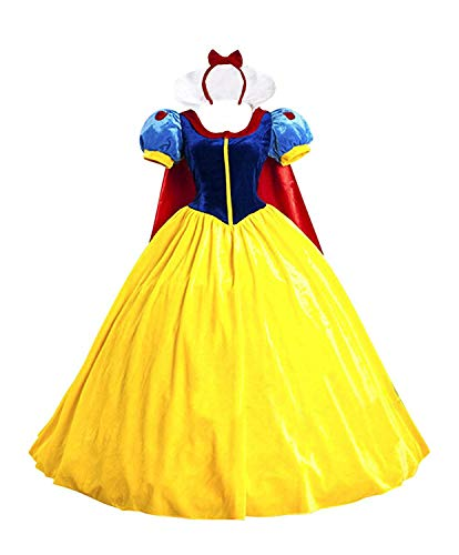 Halloween Women's Snow White Princess Costume Dress for Adult Classic Deluxe Ball Gown Cosplay with Cloak Headband (M, Snow White)]()