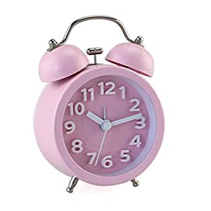 "PiLife 3"" Mini Non-ticking Vintage Classic Bedside/Table Analog Alarm Clock with Backlight , Battery Operated Travel Clock, Round Twin Bell Loud Alarm Clock( 3D Pink)"