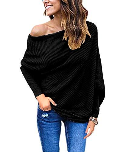 GOLDSTITCH Women's Off Shoulder Batwing Sleeve Loose Pullover Sweater Knit Jumper