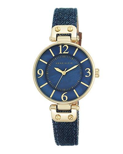 anne-klein-womens-10-9168bmdd-gold-tone-and-dark-blue-denim-strap-watch