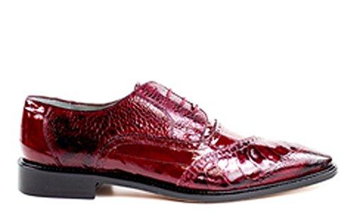 Belvedere Nino Genuine Ostrich Leg and EEL Oxford Shoe (15, Antique Red/Scarlet (Belvedere Mens Oxford)