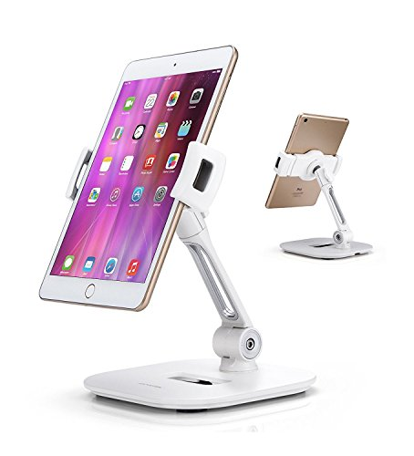 "AboveTEK Stylish Aluminum Tablet Stand, Cell Phone Stand, Folding 360° Swivel iPad iPhone Desk Mount Holder fits 4-11"" Tablets/Smartphones for Kitchen Bedside Office Table POS Kiosk Reception (150 Lap Sleek Watch)"