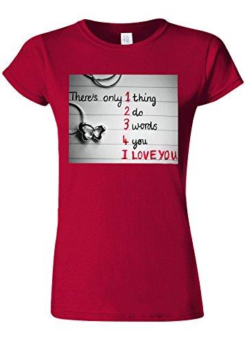 刻む湿ったウイルスOnly Thing I Love You Novelty Cherry Red Women T Shirt Top-M