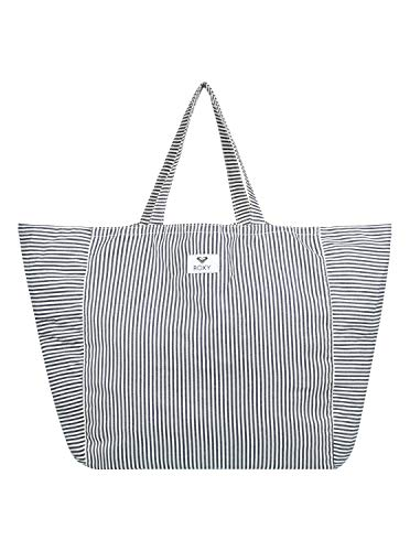 Roxy Time is Now Striped Canvas Tote Bag, Dress Blue Cornfield